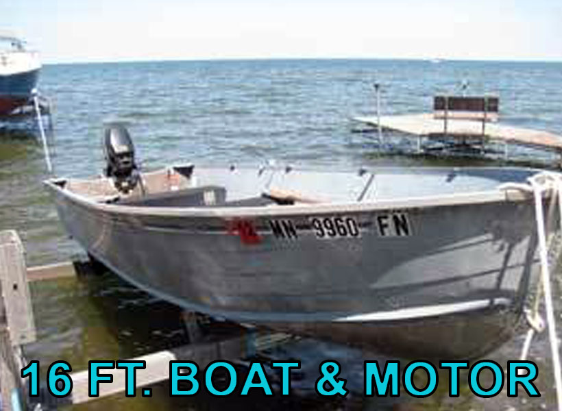 16 ft. Boat and Motor Boat Rental on Mille Lacs Lake Recreational Rentals at Randy's Rentals