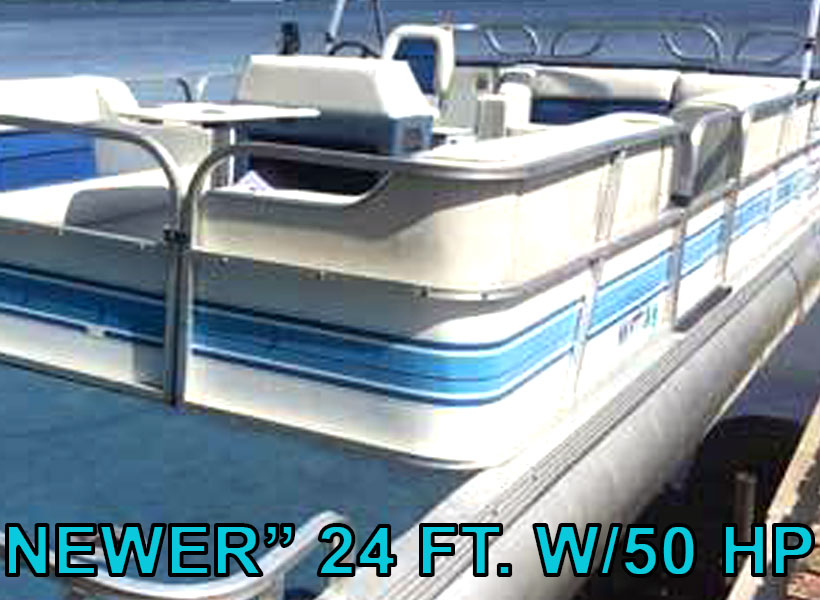"""Newer"" 24 ft. w/50 hp Pontoon Boat Rental on Mille Lacs Lake Recreational Rentals at Randy's Rentals"