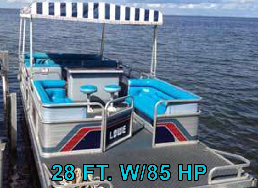 28 ft. w/85 hp Pontoon Boat Rental on Mille Lacs Lake Recreational Rentals at Randy's Rentals
